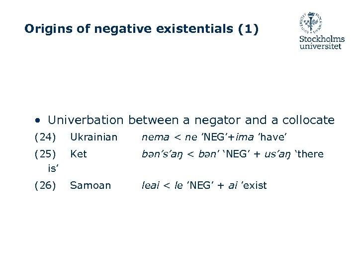 Origins of negative existentials (1) • Univerbation between a negator and a collocate (24)