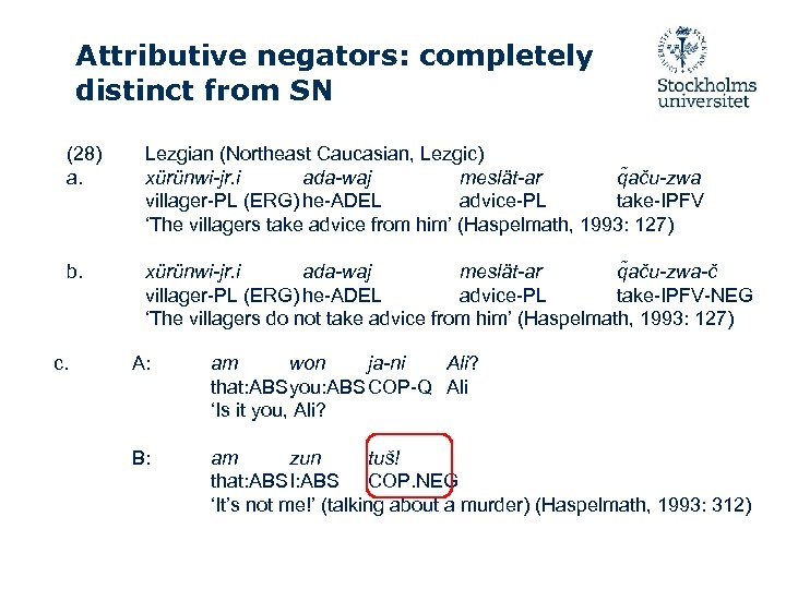 Attributive negators: completely distinct from SN (28) a. Lezgian (Northeast Caucasian, Lezgic) xürünwi-jr. i