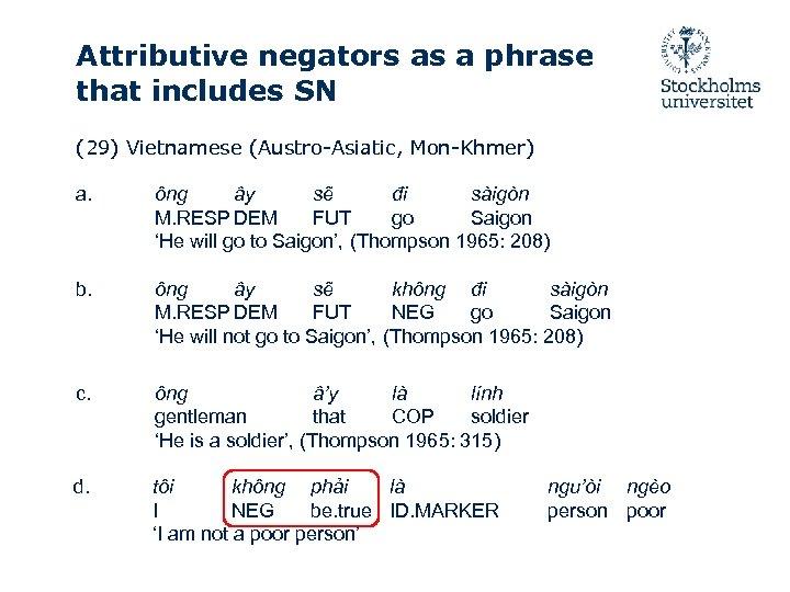 Attributive negators as a phrase that includes SN (29) Vietnamese (Austro-Asiatic, Mon-Khmer) a. ông