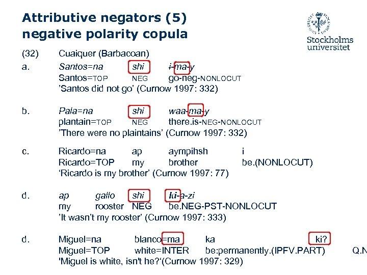 Attributive negators (5) negative polarity copula (32) a. Cuaiquer (Barbacoan) Santos=na shi i-ma-y Santos=TOP