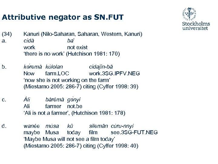 Attributive negator as SN. FUT (34) a. Kanuri (Nilo-Saharan, Western, Kanuri) cídà ba work