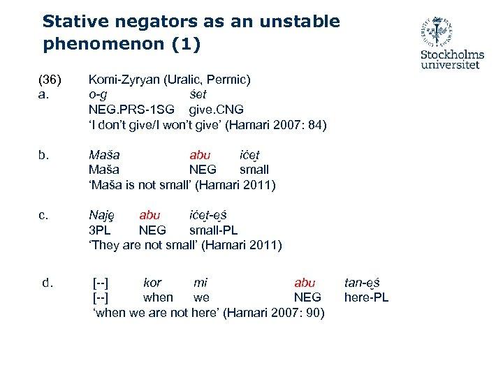 Stative negators as an unstable phenomenon (1) (36) a. Komi-Zyryan (Uralic, Permic) o-g śet