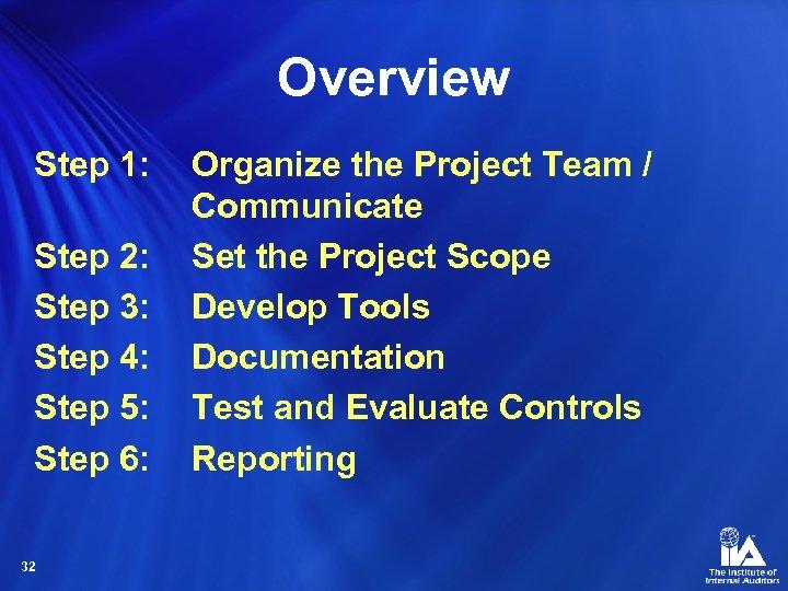 Overview Step 1: Step 2: Step 3: Step 4: Step 5: Step 6: 32