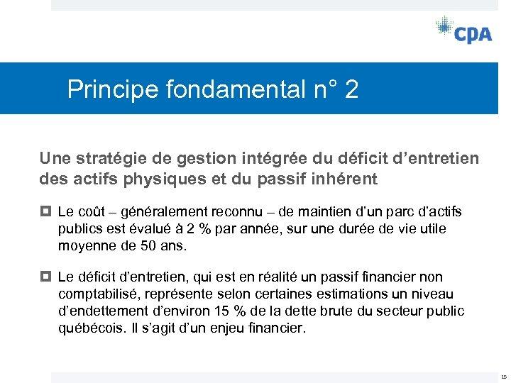Principe fondamental n° 2 Une stratégie de gestion intégrée du déficit d'entretien des actifs