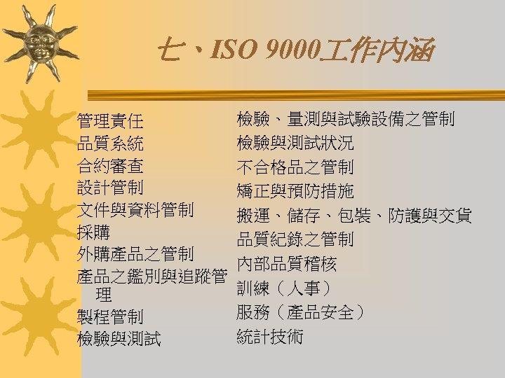 七、ISO 9000 作內涵 管理責任 品質系統 合約審查 設計管制 文件與資料管制 採購 外購產品之管制 產品之鑑別與追蹤管 理 製程管制 檢驗與測試