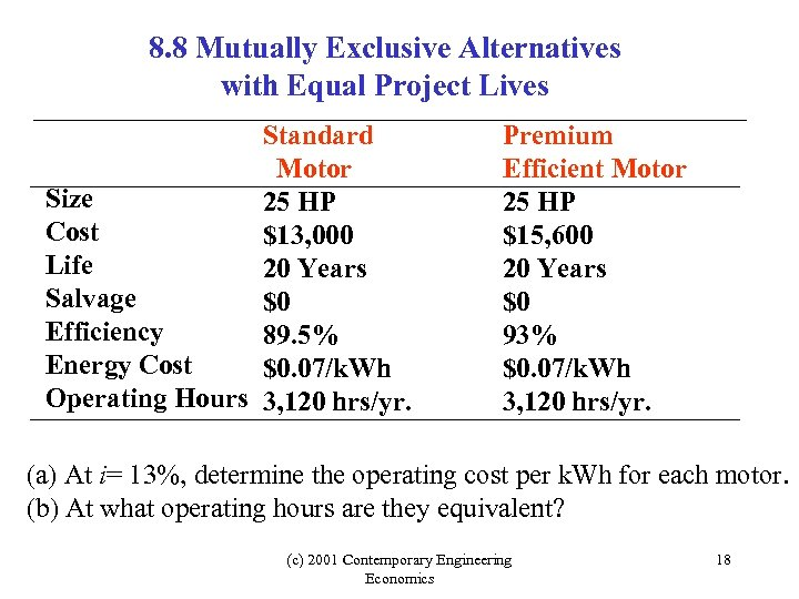 8. 8 Mutually Exclusive Alternatives with Equal Project Lives Standard Motor Size 25 HP