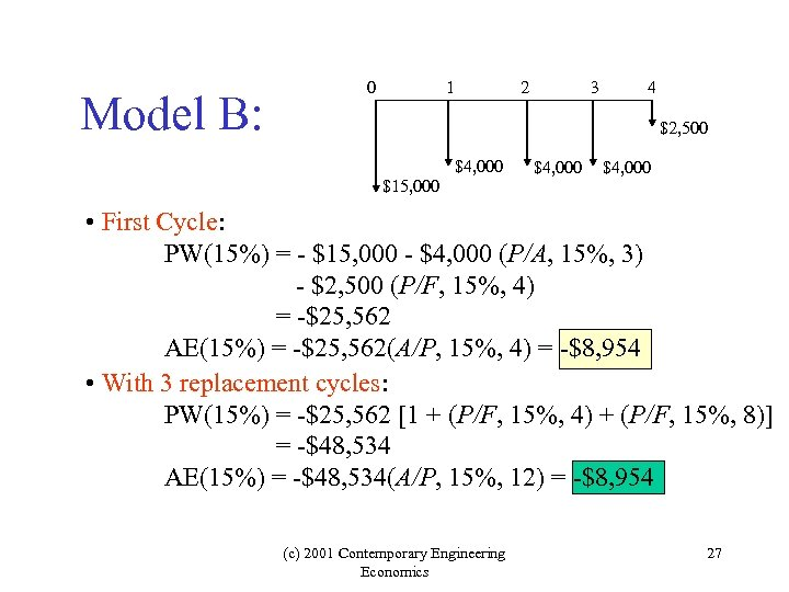 Model B: 0 1 2 3 4 $2, 500 $4, 000 $15, 000 $4,
