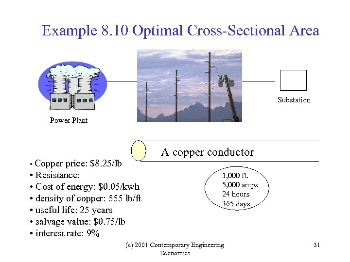 Example 8. 10 Optimal Cross-Sectional Area Substation Power Plant • Copper price: $8. 25/lb