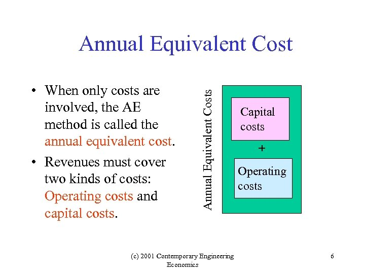 • When only costs are involved, the AE method is called the annual