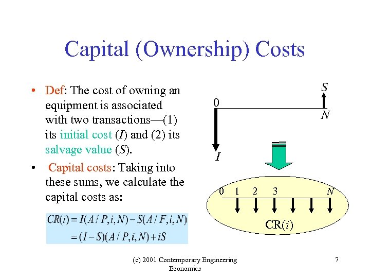 Capital (Ownership) Costs • Def: The cost of owning an equipment is associated with