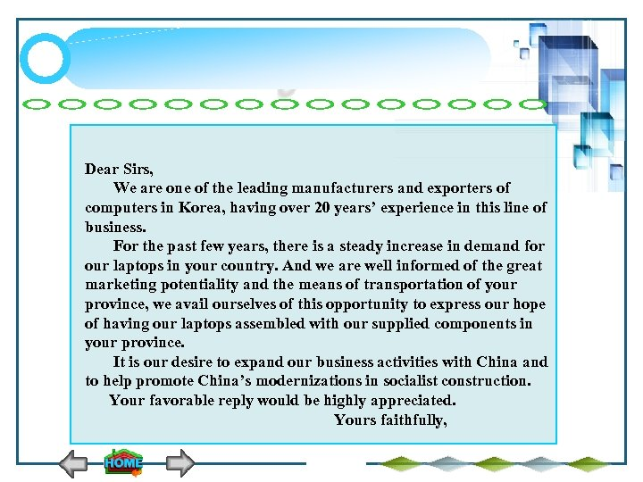 Dear Sirs, We are one of the leading manufacturers and exporters of computers in