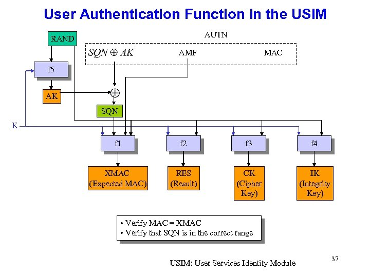 User Authentication Function in the USIM AUTN RAND AMF MAC f 5 AK SQN