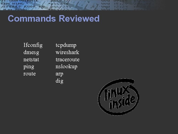 Commands Reviewed Ifconfig dmesg netstat ping route tcpdump wireshark traceroute nslookup arp dig