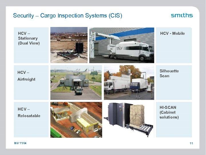 Security – Cargo Inspection Systems (CIS) HCV – Stationary (Dual View) HCV - Mobile
