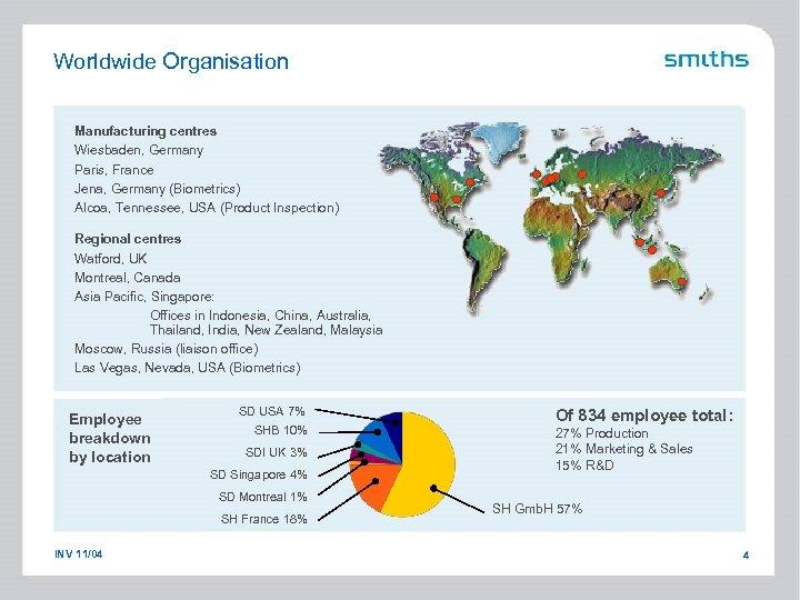 Worldwide Organisation Manufacturing centres Wiesbaden, Germany Paris, France Jena, Germany (Biometrics) Alcoa, Tennessee, USA