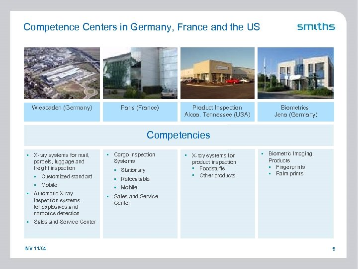 Competence Centers in Germany, France and the US Wiesbaden (Germany) Paris (France) Product Inspection