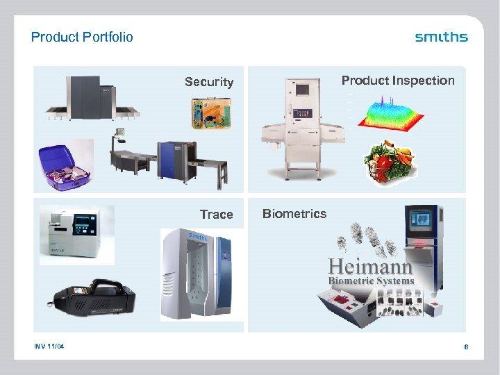 Product Portfolio Product Inspection Security Trace INV 11/04 Biometrics 6