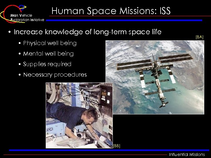 Mars Vehicle Exploration Initiative Human Space Missions: ISS • Increase knowledge of long-term space