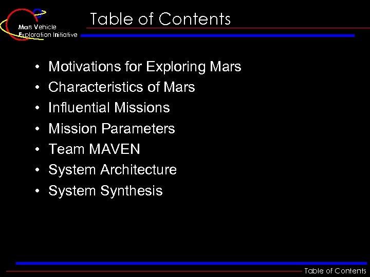 Mars Vehicle Exploration Initiative • • Table of Contents Motivations for Exploring Mars Characteristics