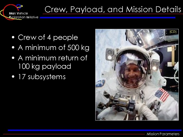 Mars Vehicle Exploration Initiative Crew, Payload, and Mission Details • Crew of 4 people