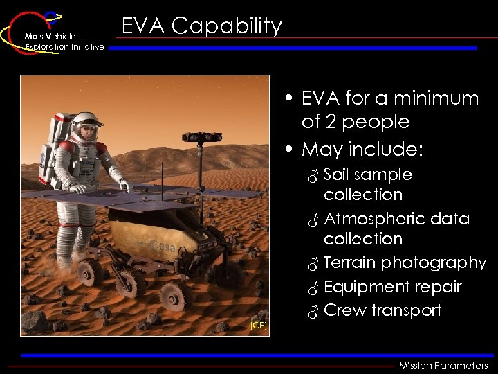 Mars Vehicle Exploration Initiative EVA Capability • EVA for a minimum of 2 people