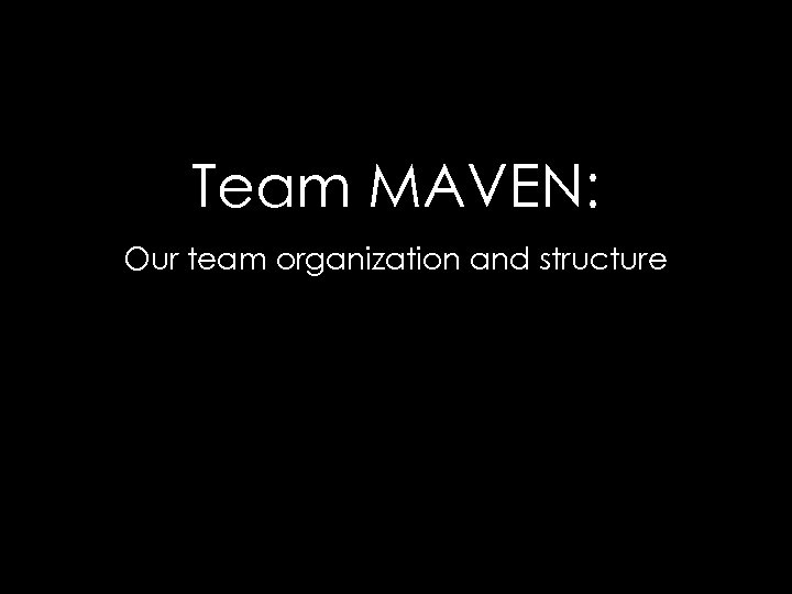 Team MAVEN: Our team organization and structure
