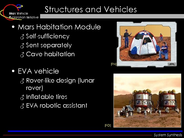 Mars Vehicle Exploration Initiative Structures and Vehicles • Mars Habitation Module ♂ Self-sufficiency ♂