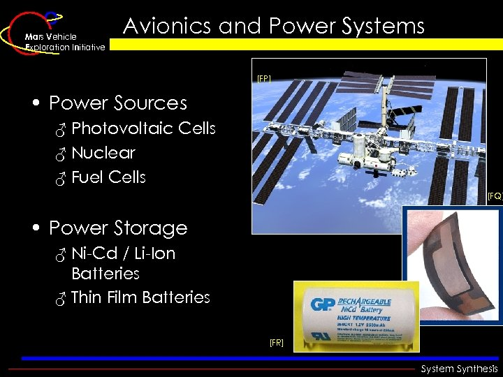 Mars Vehicle Exploration Initiative Avionics and Power Systems [FP] • Power Sources ♂ Photovoltaic