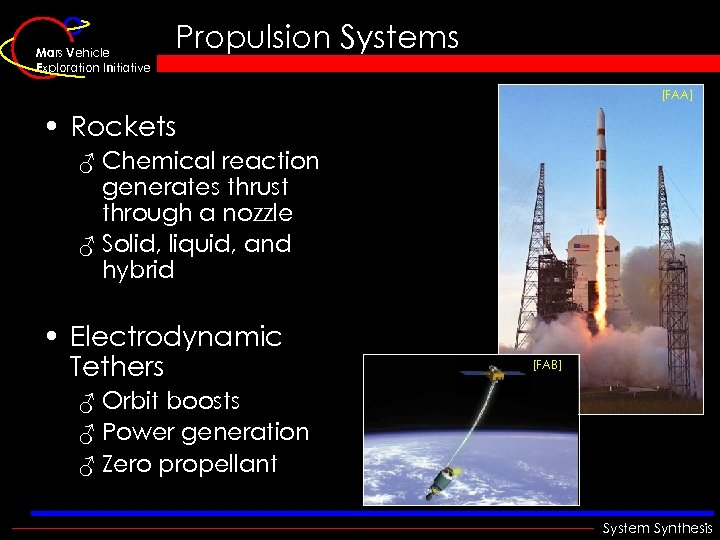 Mars Vehicle Exploration Initiative Propulsion Systems [FAA] • Rockets ♂ Chemical reaction generates thrust