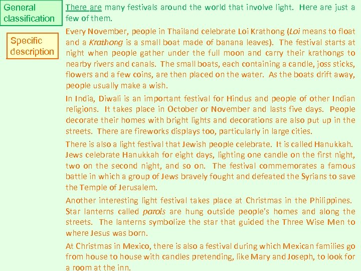 General classification Specific description There are many festivals around the world that involve light.