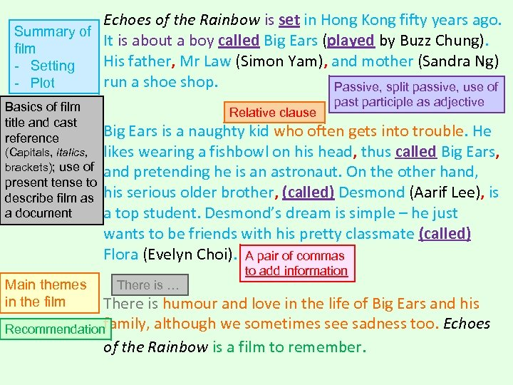 Echoes of the Rainbow is set in Hong Kong fifty years ago. Summary of