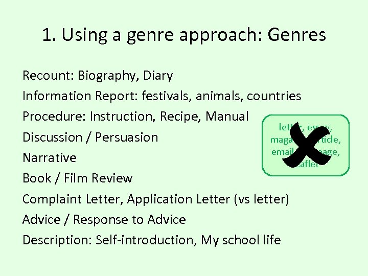 1. Using a genre approach: Genres Recount: Biography, Diary Information Report: festivals, animals, countries