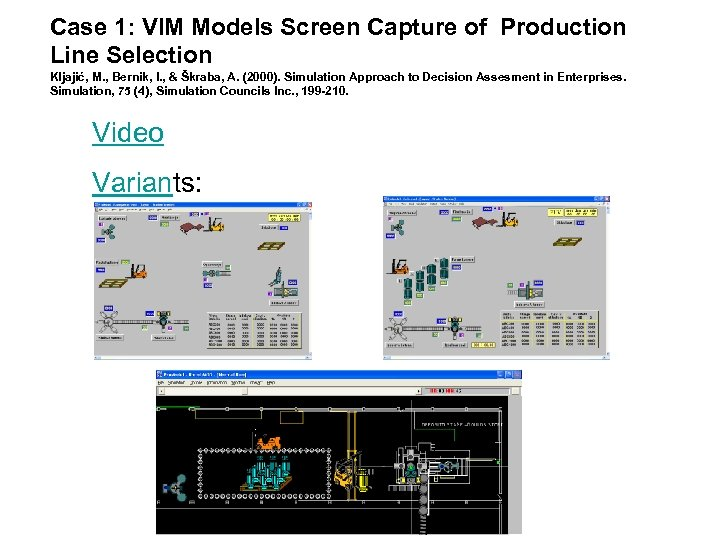 Case 1: VIM Models Screen Capture of Production Line Selection Kljajić, M. , Bernik,