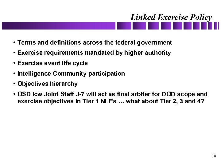 Linked Exercise Policy • Terms and definitions across the federal government • Exercise requirements