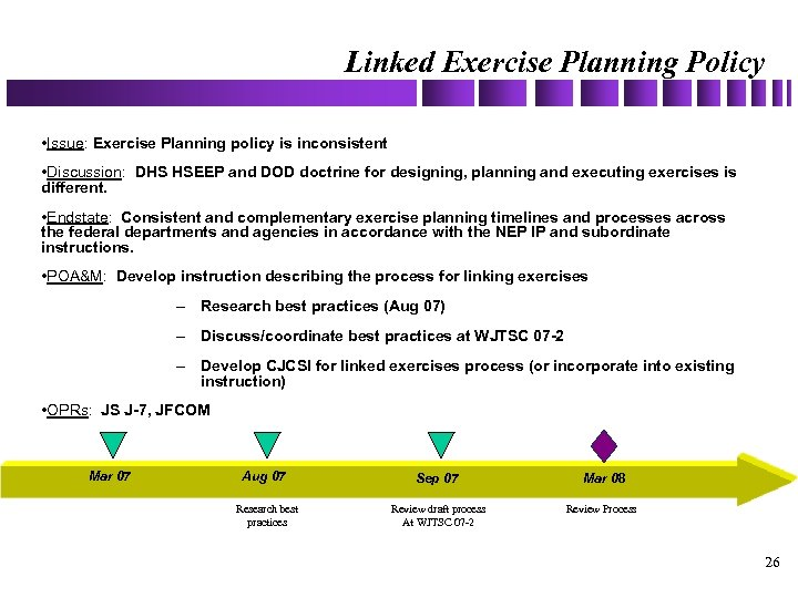 Linked Exercise Planning Policy • Issue: Exercise Planning policy is inconsistent • Discussion: DHS
