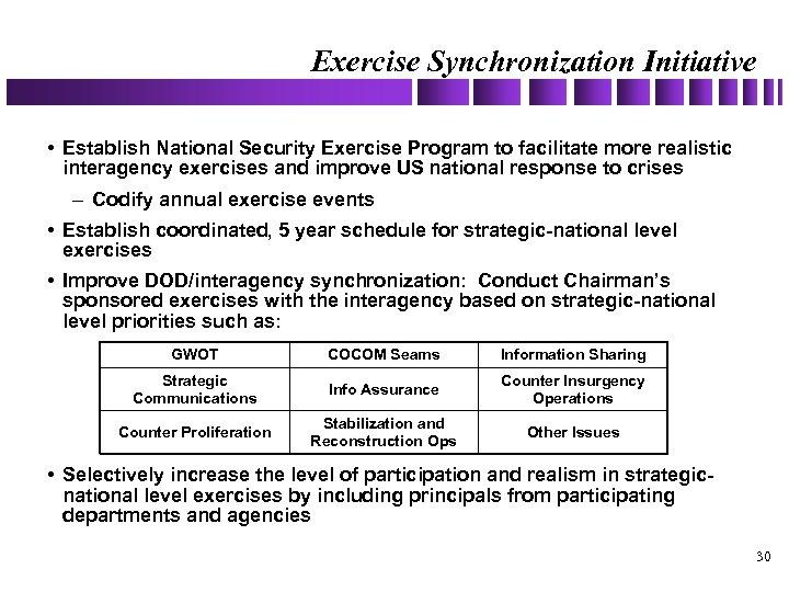 Exercise Synchronization Initiative • Establish National Security Exercise Program to facilitate more realistic interagency