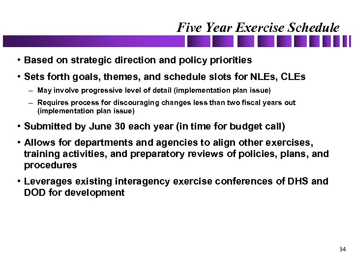 Five Year Exercise Schedule • Based on strategic direction and policy priorities • Sets