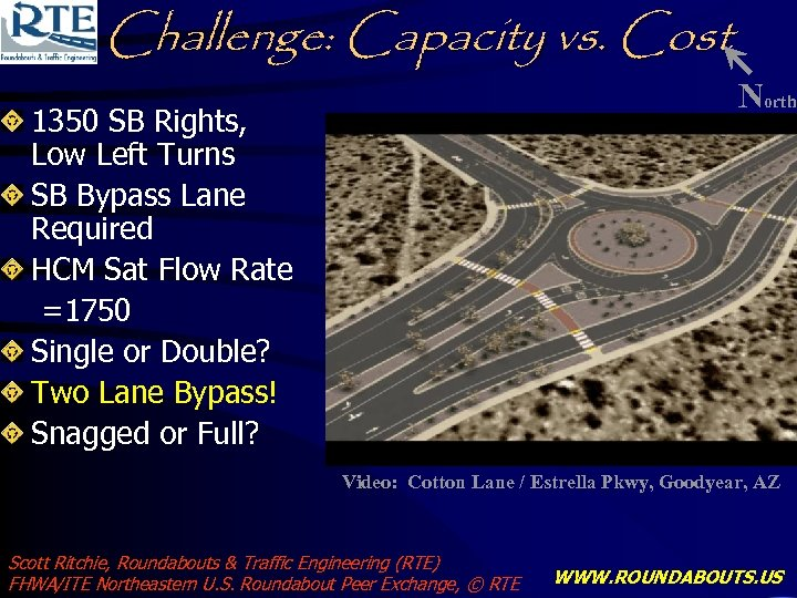 Challenge: Capacity vs. Cost 1350 SB Rights, Low Left Turns SB Bypass Lane Required