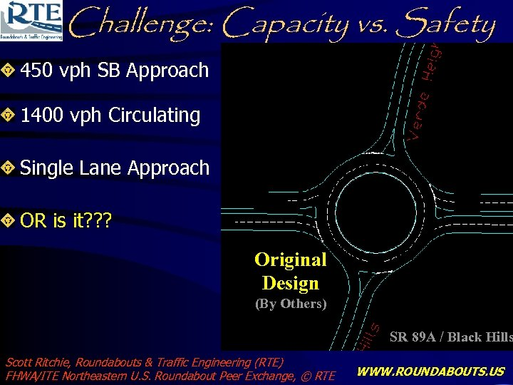 Challenge: Capacity vs. Safety 450 vph SB Approach 1400 vph Circulating Single Lane Approach