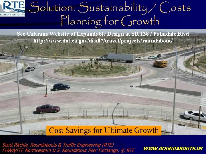 Solution: Sustainability / Costs Planning for Growth See Caltrans Website of Expandable Design at