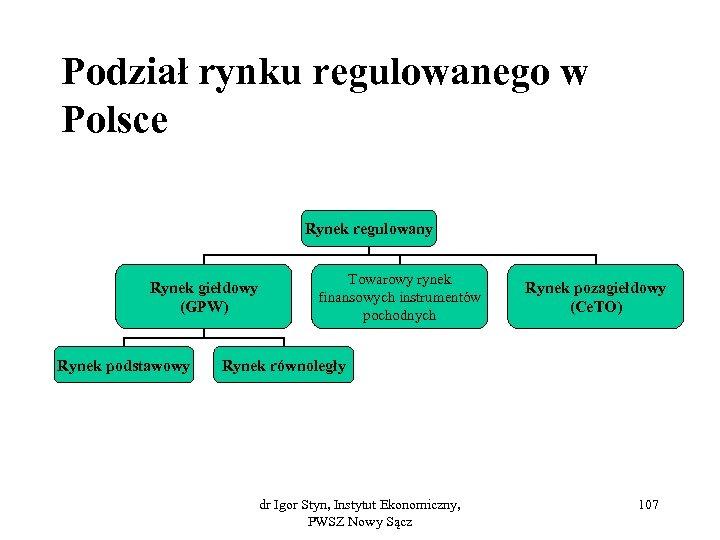 Podział rynku regulowanego w Polsce Rynek regulowany Rynek giełdowy (GPW) Rynek podstawowy Towarowy rynek