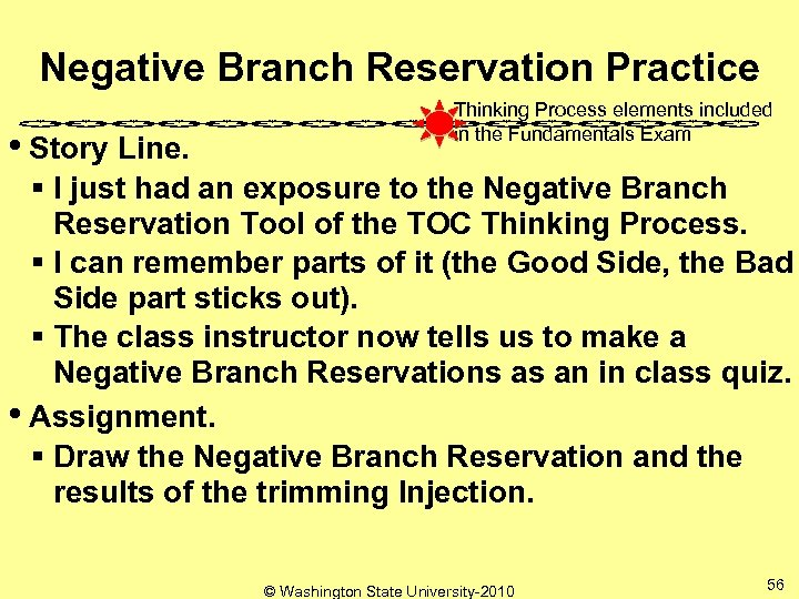 Negative Branch Reservation Practice • Story Line. Thinking Process elements included in the Fundamentals