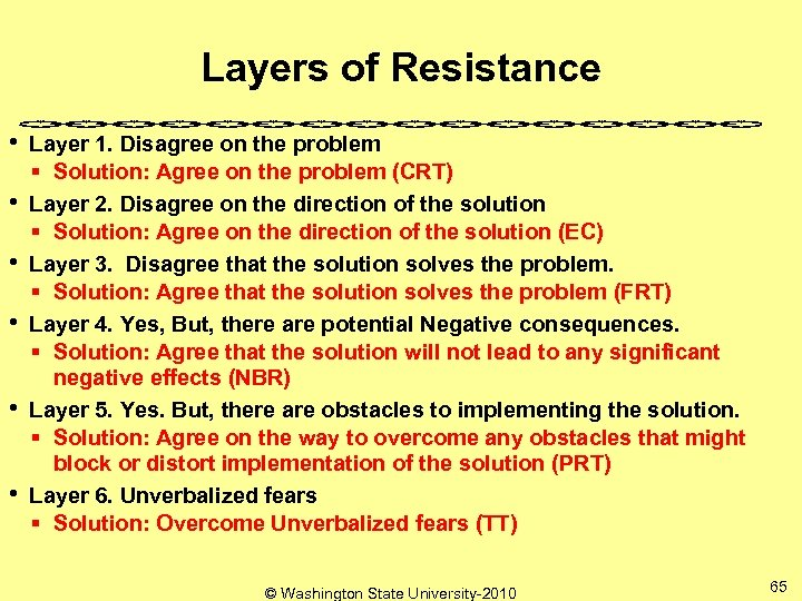 Layers of Resistance • • • Layer 1. Disagree on the problem § Solution: