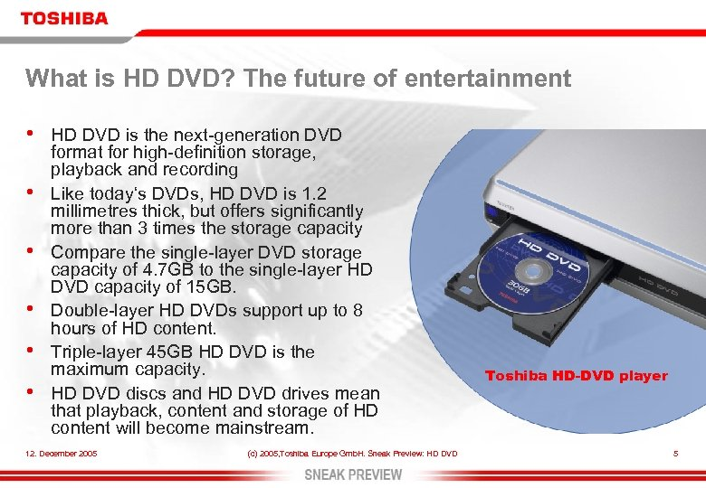 What is HD DVD? The future of entertainment • • • HD DVD is