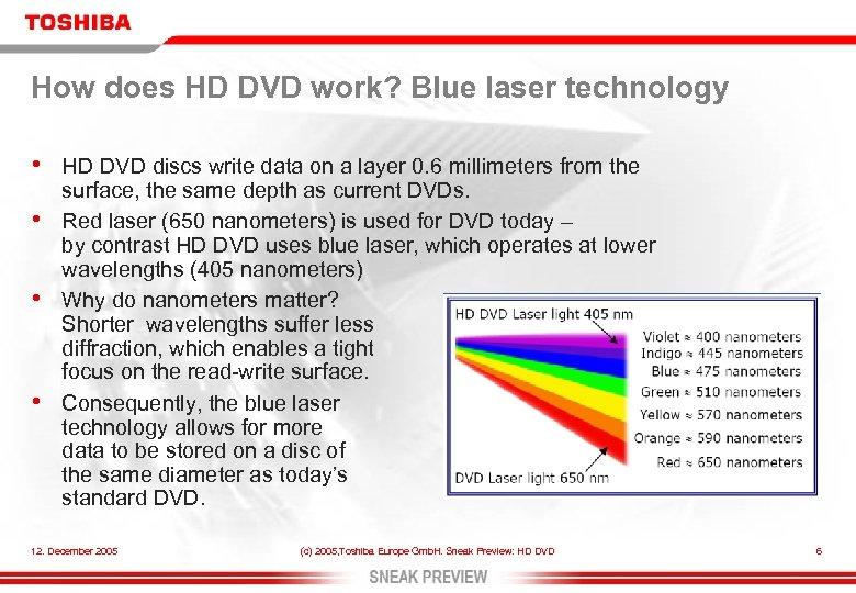 How does HD DVD work? Blue laser technology • • HD DVD discs write