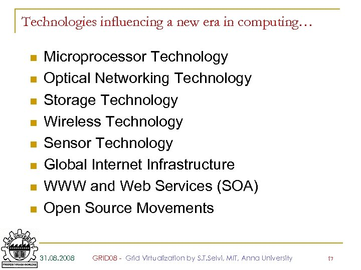 Technologies influencing a new era in computing… n n n n Microprocessor Technology Optical