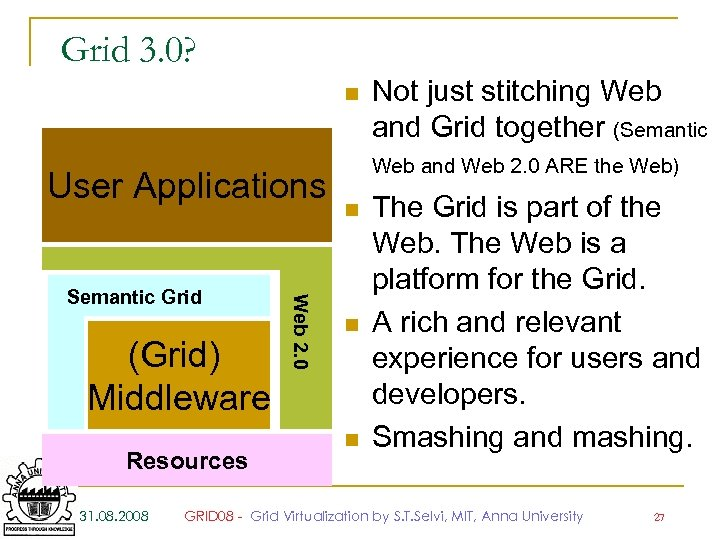 Grid 3. 0? n User Applications (Grid) Middleware Resources 31. 08. 2008 Web 2.