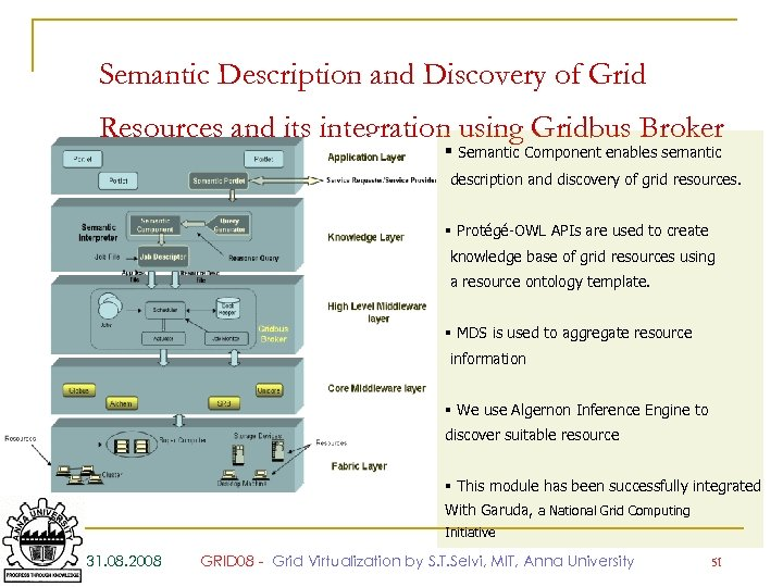 Semantic Description and Discovery of Grid Resources and its integration using Gridbus Broker §