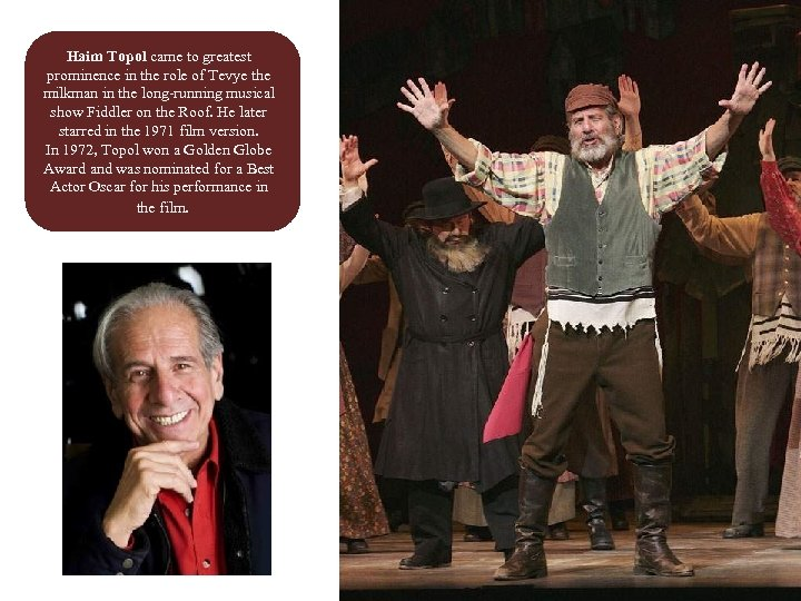 Haim Topol came to greatest prominence in the role of Tevye the milkman in