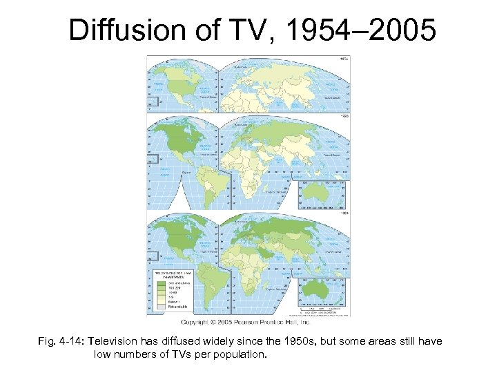 Diffusion of TV, 1954– 2005 Fig. 4 -14: Television has diffused widely since the